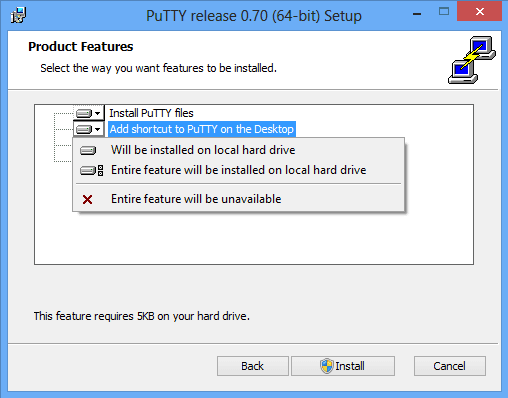 install putty choose features