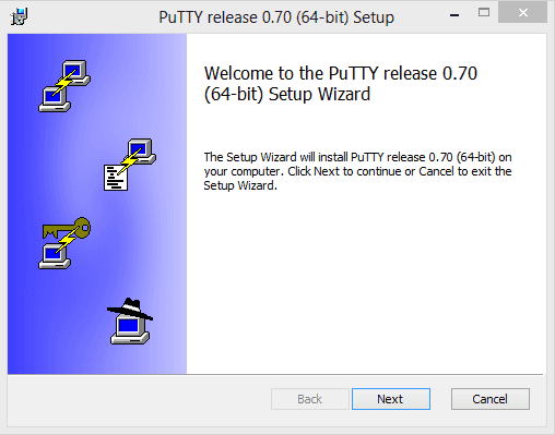 install putty welcome page