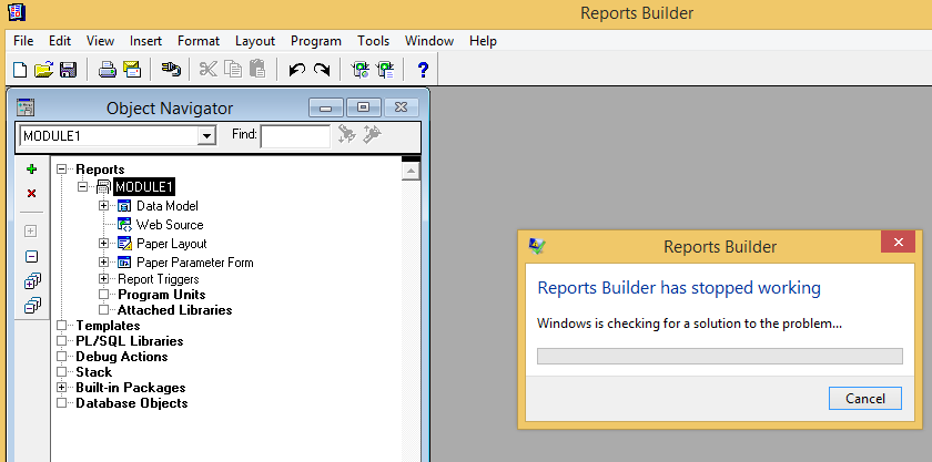 Oracle report builder stopped working