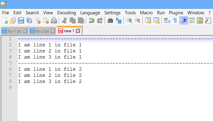 combine file insert line before text
