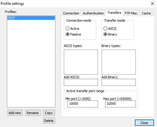 Connection Transfer Settings