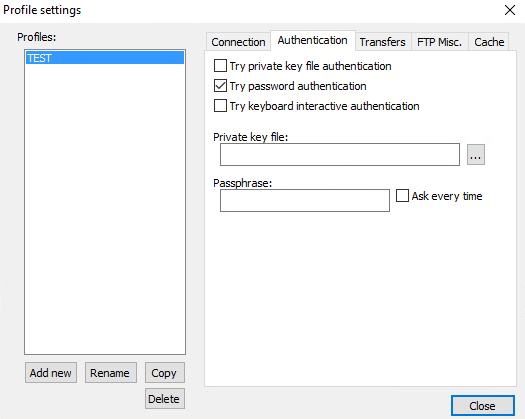 Select Authentication Type