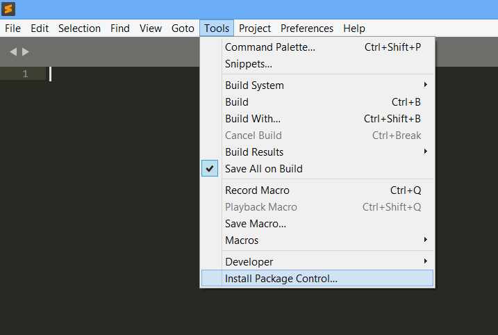 install package manager using tools menu