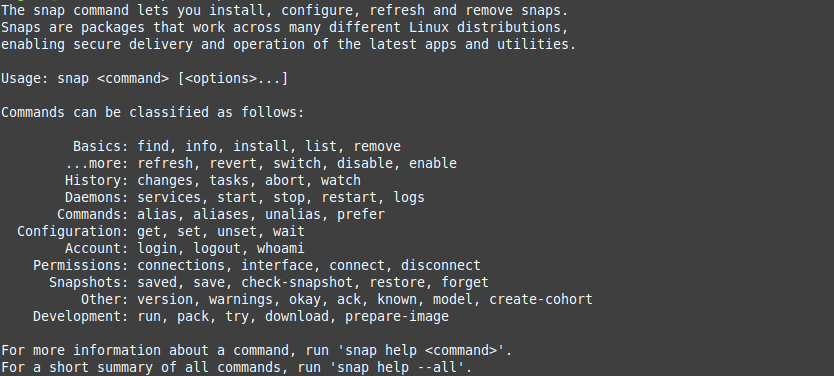 1.- Snap command help