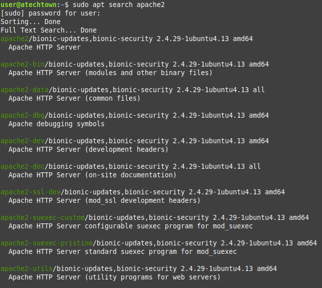 Searching for Apache on the Ubuntu repositories