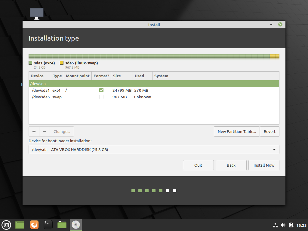 Disk ready for Linux Mint