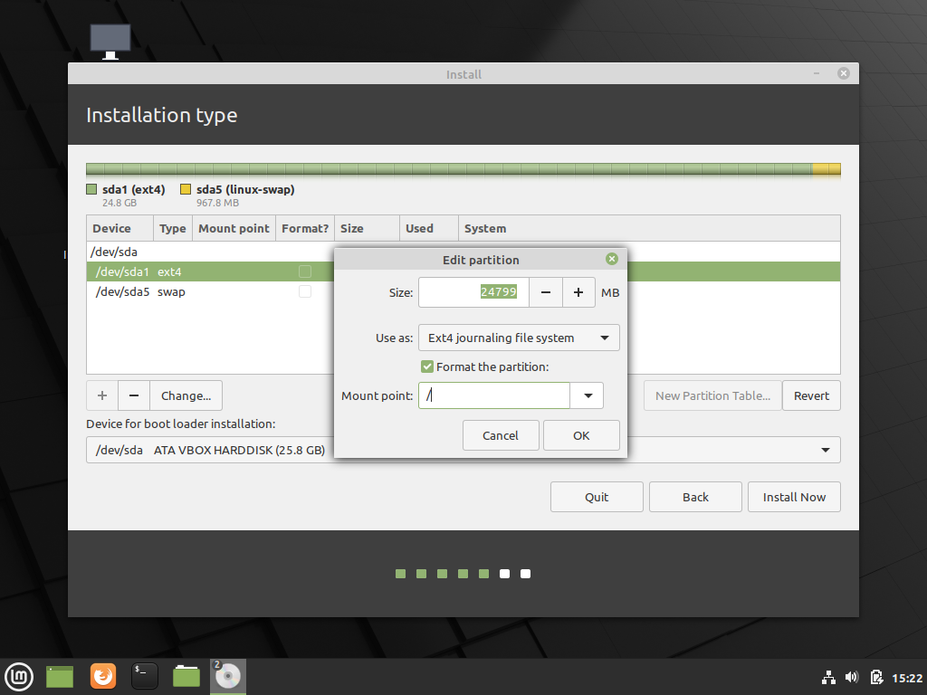 Edit the main partition where Linux Mint will be installed