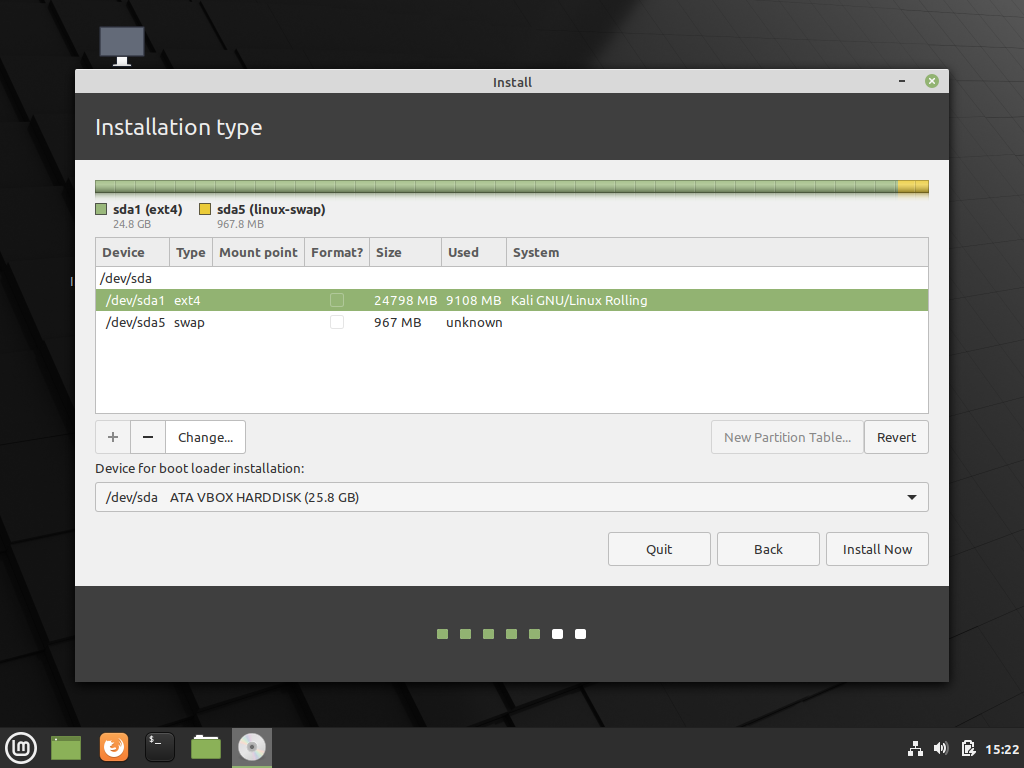 Preparing the disk for Linux Mint