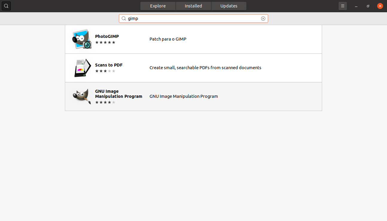 searching for GIMP on the Ubuntu Software center