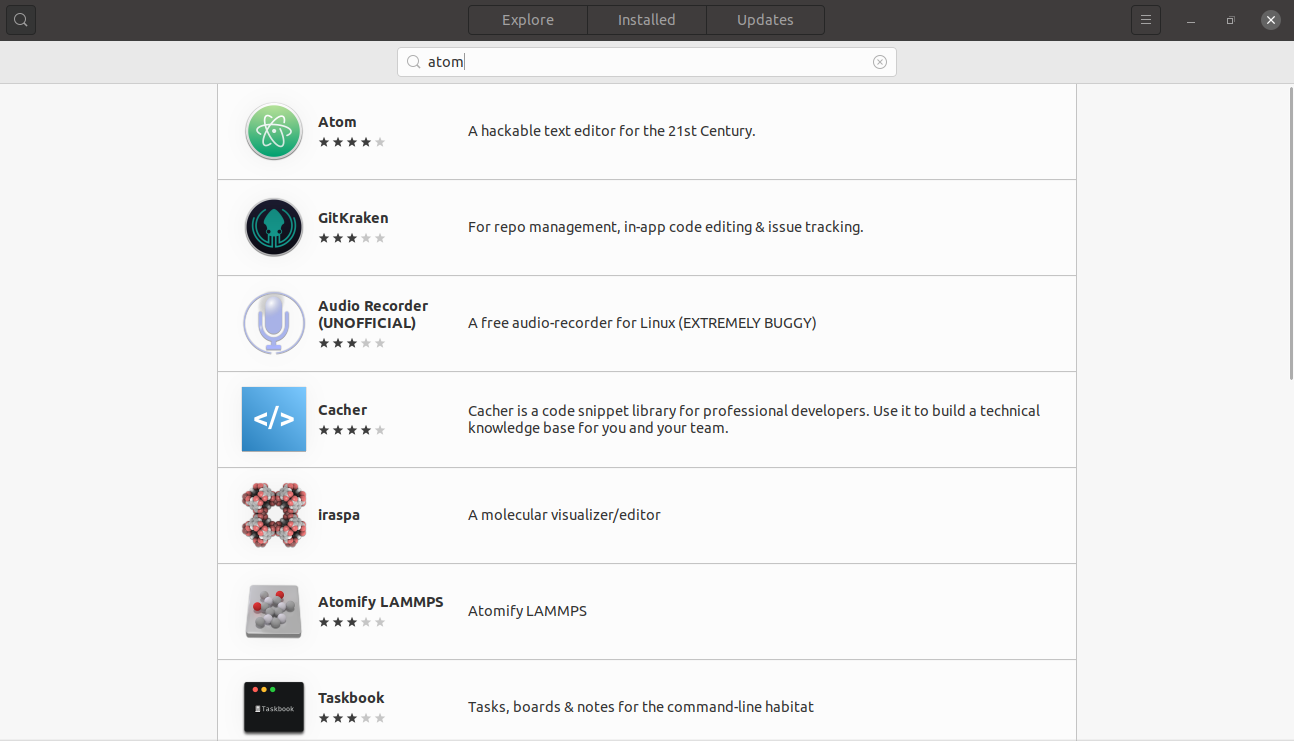Searching for Atom on the Ubuntu software center