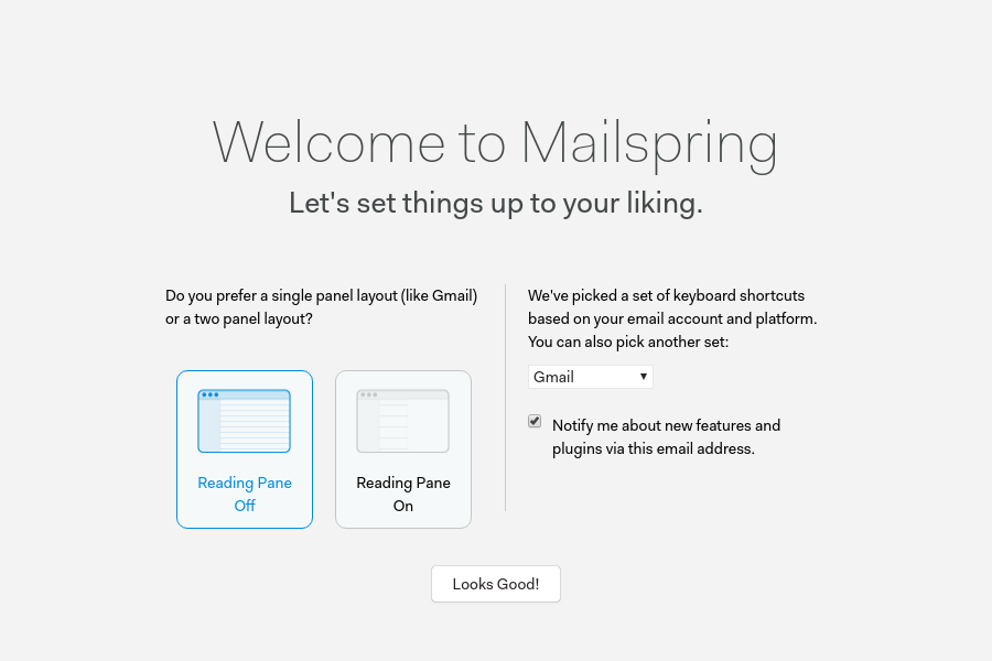 Configuring Mailspring for the first use