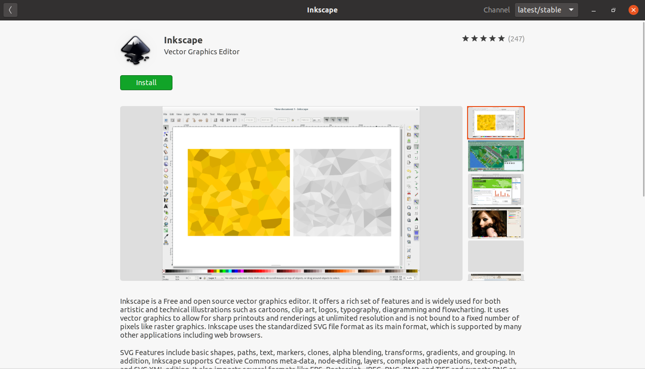 The Inkscape info on the Ubuntu Software center