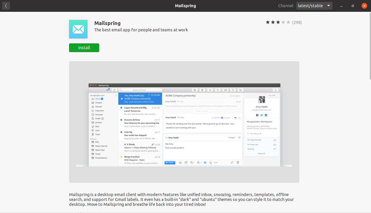 Mailspring package on the Ubuntu Software Center