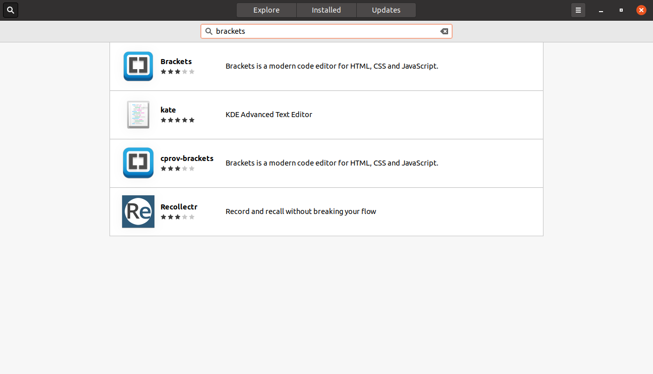 Searching for brackets on the Ubuntu Sofware Center