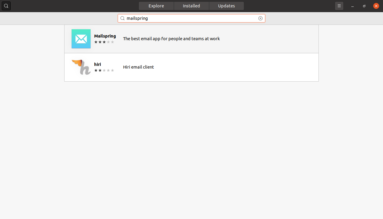 Searching for Mailspring on the Ubuntu Software center