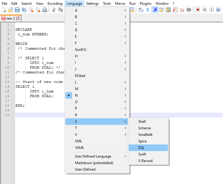enable sql syntax highlighting in Notepad++