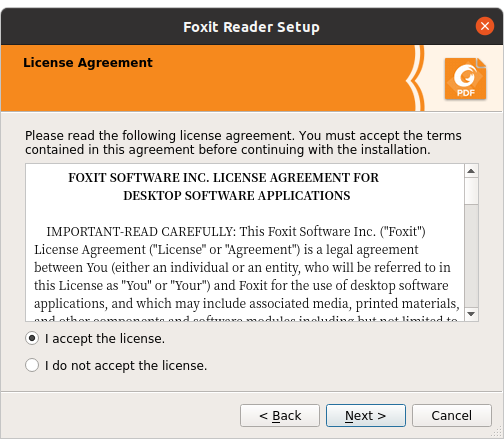 Foxit Reader license terms