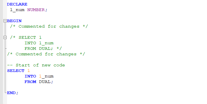plsql code with syntax highlight