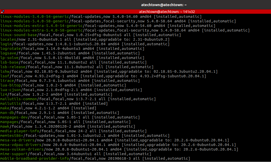 List software using APT command output