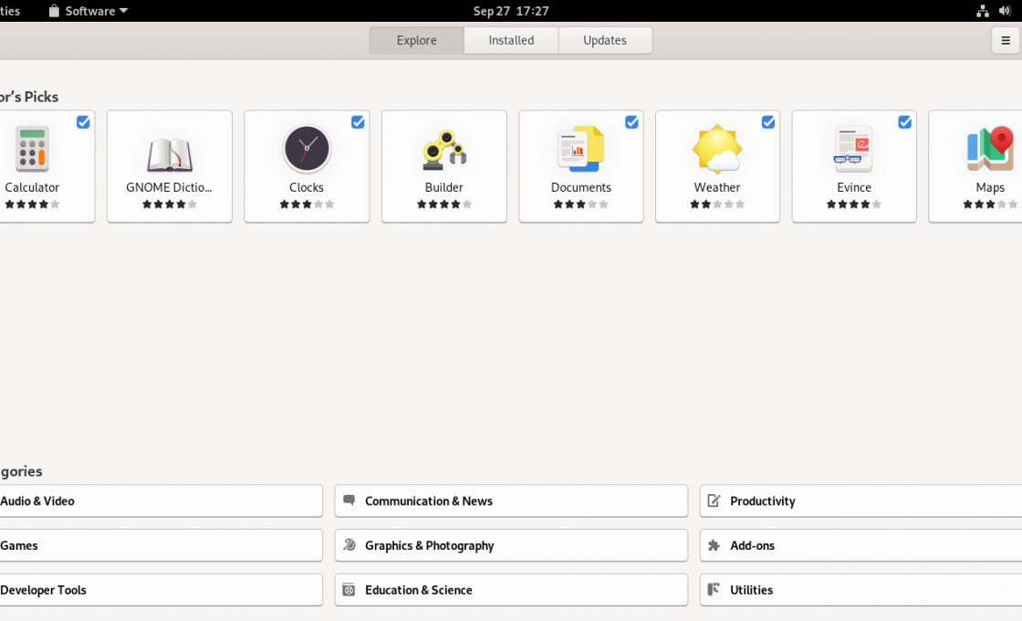 GNOME Software interface