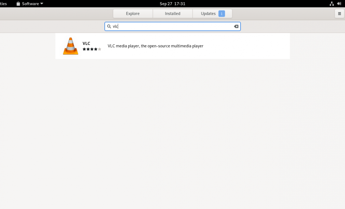 Searching for VLC on GNOME Software